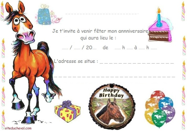 carte invitation anniversaire cheval